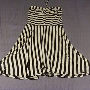 A black and white striped dress